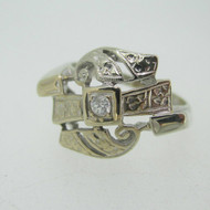 Vintage 14k White Gold Round Diamond Ring with Flower Accents Size 7