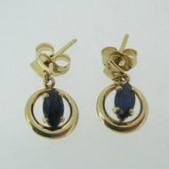 14k Yellow Gold Oval Cut Sapphire Dangle Earrings