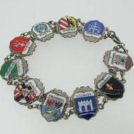 Sterling Silver German Cities Enamel Bracelet