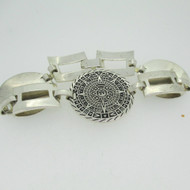 Sterling Silver Mexican Aztec Mayan Sun Calendar Fold Over Clasp Bracelet