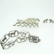 Sterling Silver Horse Pin Earrings Bracelet Set