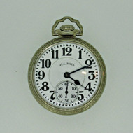 Antique 1928 Illinois Bunn Special 60 Hour Model 14 16s 21J 14k White Gold Filled Pocket Watch (B5485)