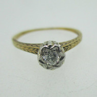 Vintage 1900's Platinum and 14k Yellow Gold Approx .14ct European Cut Diamond Ring Size 5 1/4