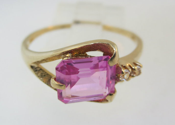 Unique Pink CZ Ring Yellow Gold