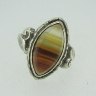 Sterling Silver Montana Agate Uncas Ring Size 4 3/4