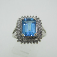 10k White Gold Emerald Cut Blue Topaz Ring with Double Row Diamond Halo Accents Size 7 1/2