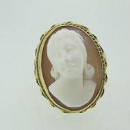 Vintage 10k Yellow Gold Coral Carved Cameo Ring Size 7 3/4