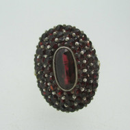 Victorian 1800's 14k Yellow Gold Red Bohemian Rose Cut Garnet Cluster in Silver Ring Size 8 1/2
