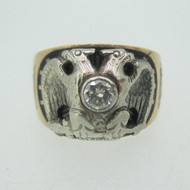 10k Yellow Gold Masonic Ring 32nd Degree with Diamond and Double Eagle Head Ring Size 9 1/4