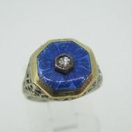 Vintage 10k White Gold Diamond Filigree and Enamel Ring Size 4 3/4