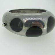 TP-04 Alpaca Mexico Bracelet with Black Onyx Dots Hinged Bracelet