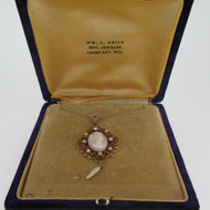 Victorian 14k Yellow Gold European Diamond Cameo Baroque and Seed Pearls with Original Case
