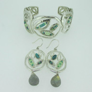Sterling Silver Silpada Garden Party Cuff Bracelet & Earring Set