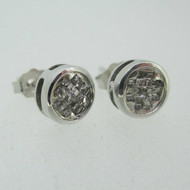 14k White Gold White Diamond Stud Earrings