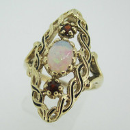 Vintage 10k Yellow Gold Garnet and OpalFashion Ring Size 6 1/2