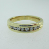 14k Yellow Gold Approx .20ct TW Round Brilliant Cut Diamond Band Size 6 3/4