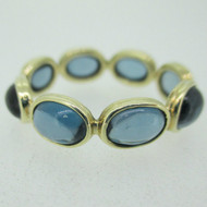 14k Yellow Gold Blue Topaz Eternity Ring Size 9 1/2