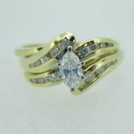 14k Yellow Gold Approx 1/3ct Marquise Cut Diamond Wedding Set 10 1/2