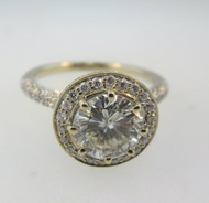 18k White Gold Approx. 1.41ct Round Brilliant Diamond Halo Ring Surrounded with Diamonds and Yellow Gold Accents. Size 6 ½ *
