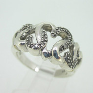 Sterling Silver Interlocking Diamond Hearts Ring Size 7