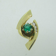 14k Yellow Gold Natural Emerald Pendant with Diamond Accents
