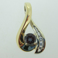 14k Yellow and White Gold Pendant with Created Alexandrite and Diamonds