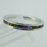 Sterling Silver Multi Color Rhinestone Stone Eternity Infinity Ring Size 7 1/4