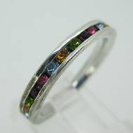 Sterling Silver Multi Color Rhinestone Stone Eternity Infinity Ring Size 7 1/2