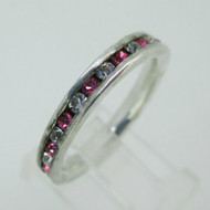 Sterling Silver Pink and White Rhinestone Stone Eternity Infinity Ring