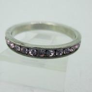Sterling Silver Pink Rhinestone Stone Eternity Infinity Ring