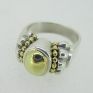 Sterling Silver & 18K Accent Lagos Caviar Dome Ring Size 7