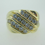 14k Yellow Gold Approx 1.0ct TW Diamond Men's Ring Size 10 1/4