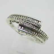 Sterling Silver Diamond Overlap MOM Ring Band Size 10.25