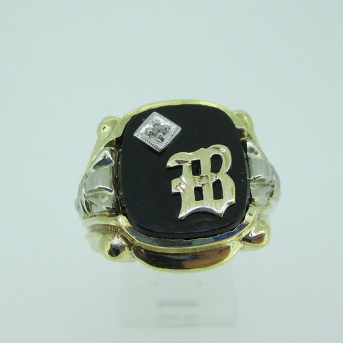 10k Yellow Gold Black Onyx B Signet Ring with Diamond Accent Size 9