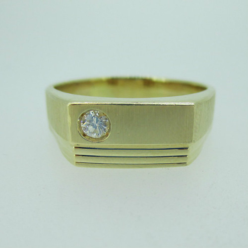 14k Yellow Gold Approx .22ct Round Brilliant Cut Diamond Men's Band Ring Size 15