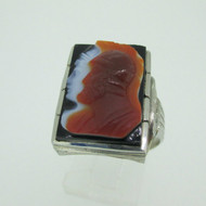 10k White Gold Black Onyx Intaglio Ring Size 9 1/2