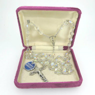 Vintage Catamore Sterling Silver Rosary Aurora Borealis Beads in Box with Tag