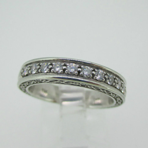 19k White Gold St Onge 1/3ct TW Diamond Band Love Forever Size 7