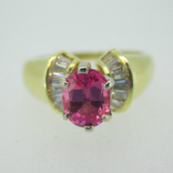18k Yellow Gold Pink Sapphire Ring with Diamond Accents Size 7 3/4