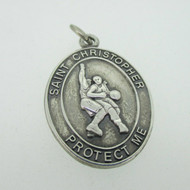 Sterling Silver Catholic Religious Miraculous Medal St Christopher Basketball