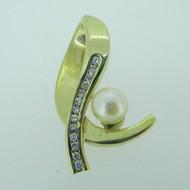 14k Yellow Gold Diamond and Pearl Omega Pendant Slider