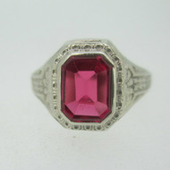 Vintage 10k White Gold Red Stone Ring Size 7 1/2