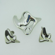 Sterling Silver Denmark Georg Jensen Pin Brooch Earring Set