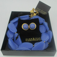 Joan Rivers Gold Tone Blue Stone Necklace Earring Set