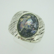 Sterling Silver Green Ancient Roman Glass Ring Size 9