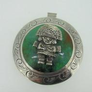 Sterling Silver Peru Laffi Green Turquoise Tumi Pin Brooch Pendant