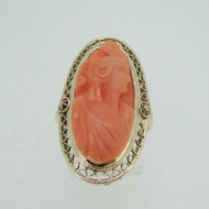 Victorian 10k Yellow Gold Pink Coral Cameo Ring Size 7 1/2