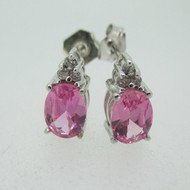 14k White Gold Created Pink Sapphire Stud Earrings