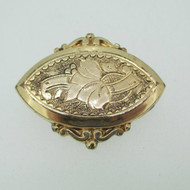 Vintage Yellow Gold Filled Etched Design Pin Brooch Pendant