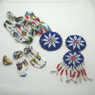 Handmade Colorful Seed Beaded Southwestern Tribal Jewelry Set For Repair